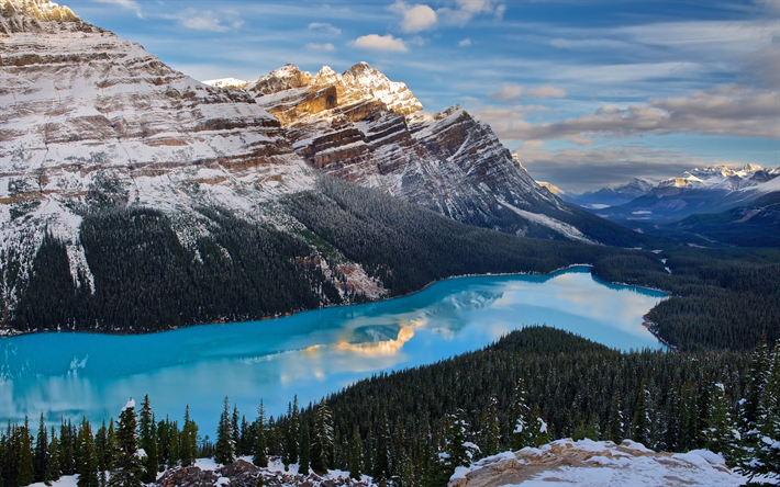Download Wallpapers 4k Canada Peyto Lake Winter Banff National Park Forest Canadian Rockies Mountains North America Besthqwallpapers Com Nature Wallpaper Nature Desktop Wallpaper Scenery Wallpaper