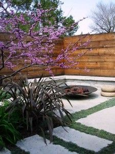 Firepit Wooden Wall And Concrete Slabs With Ground