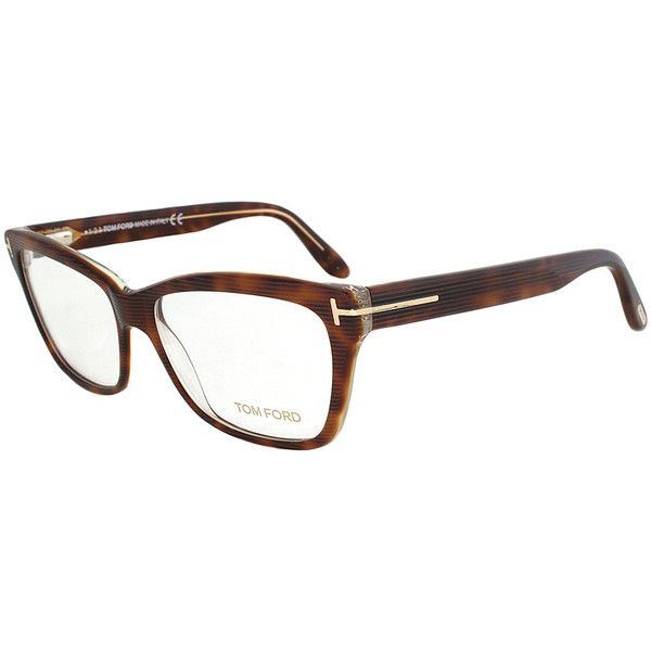 Tom Ford Light Havana Rectangle Eyeglasses ($160) ❤ liked on Polyvore featuring accessories, eyewear, eyeglasses, tom ford glasses, tom ford eyewear, rectangle glasses, tom ford and tom ford eye glasses
