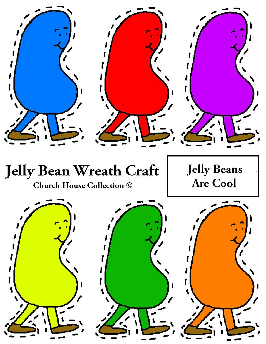 Jelly Bean Wreath Cut Out Template Colored 1019x1319