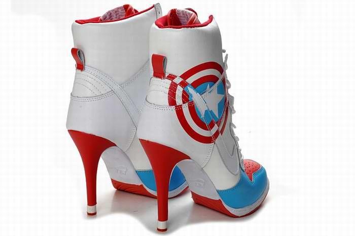 d960e339f92 Red Captain America Nike Dunk High Heel Blue White