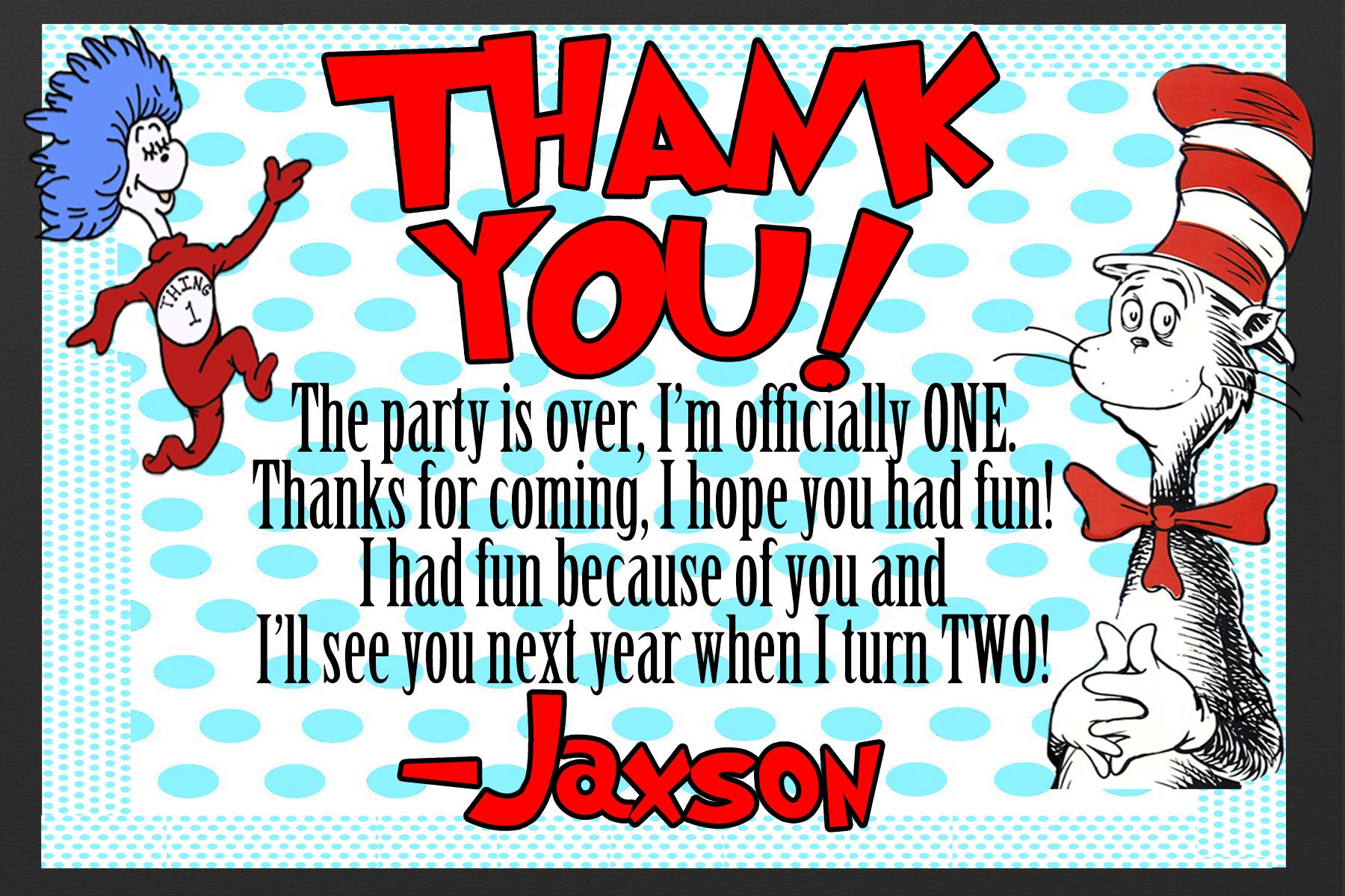 Dr Seuss thank you card for childs birthday party | Party Supplies ...