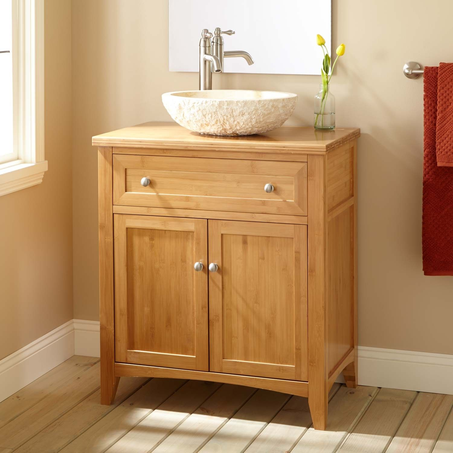 "30"" Narrow Depth Halifax Bamboo Vessel Sink Vanity  Vessel Sink Fair Narrow Depth Bathroom Vanity 2018"