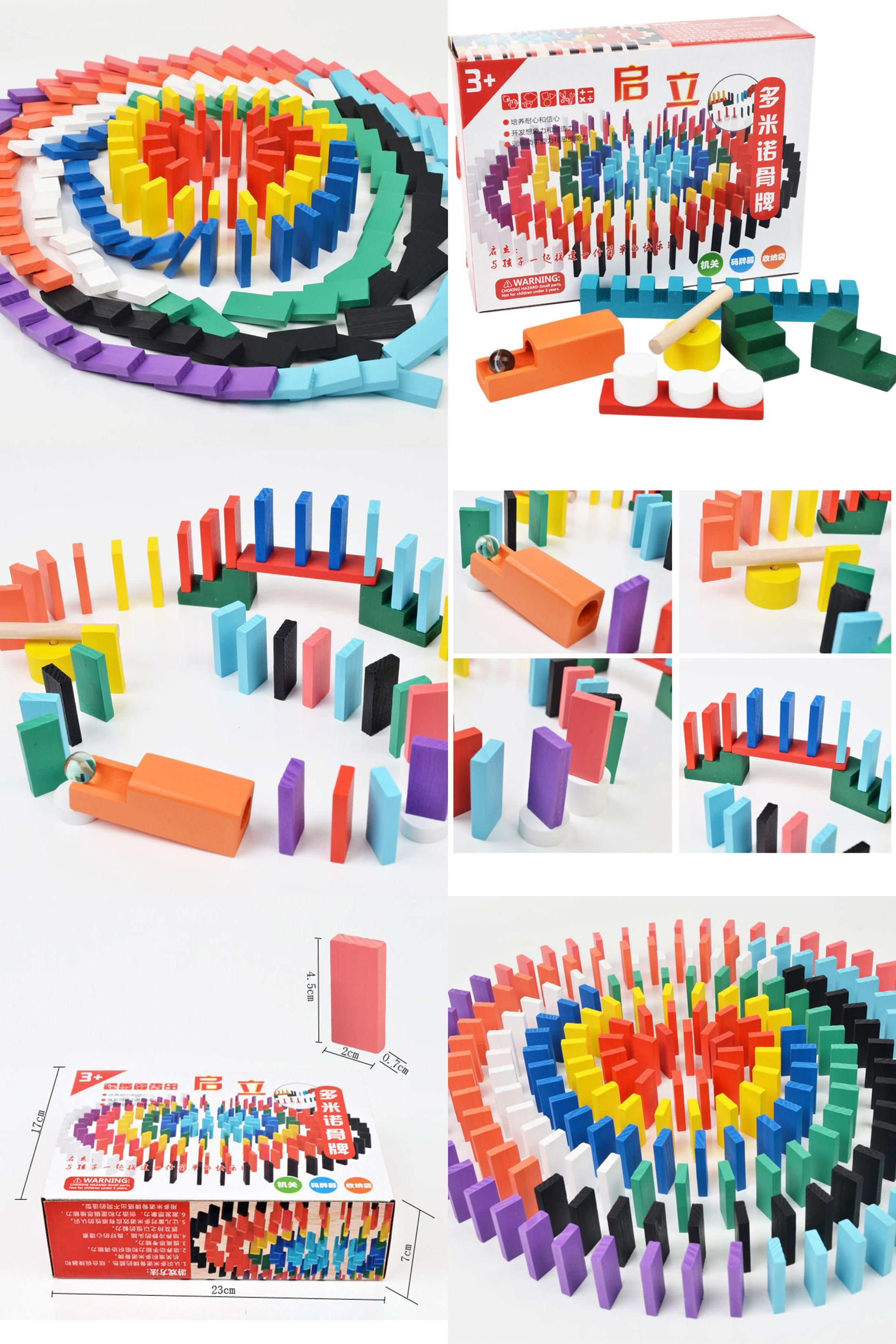 Visit to Buy] 200Pcs Wooden Colored Domino Blocks Game Set for