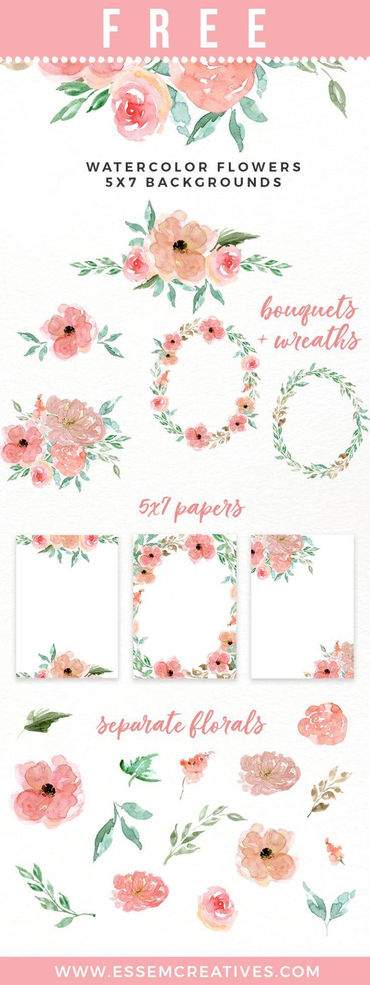 Free Peachy Pink Watercolor Flower Collection Wasserfarbenblumen