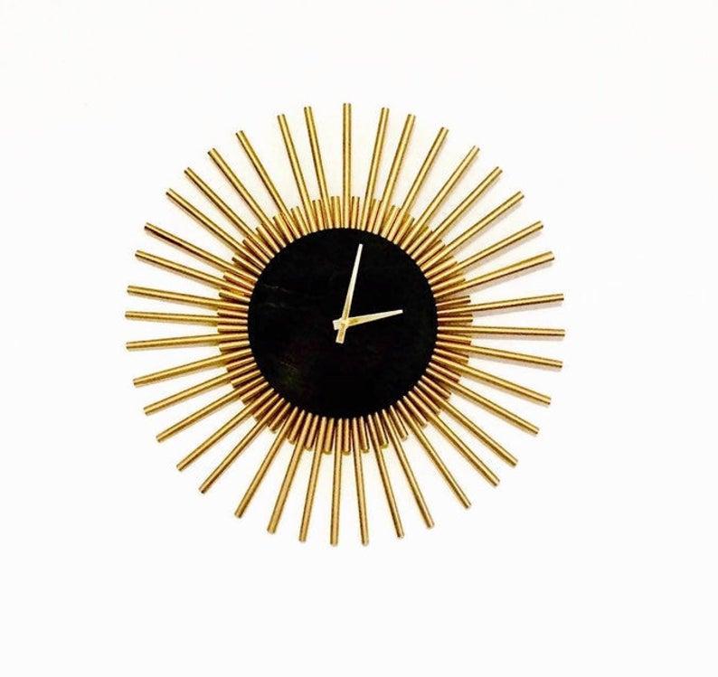 Pin By Julie Hegele On Diy Sunburst Clock Large Wall Clock Modern Clock Wall Decor