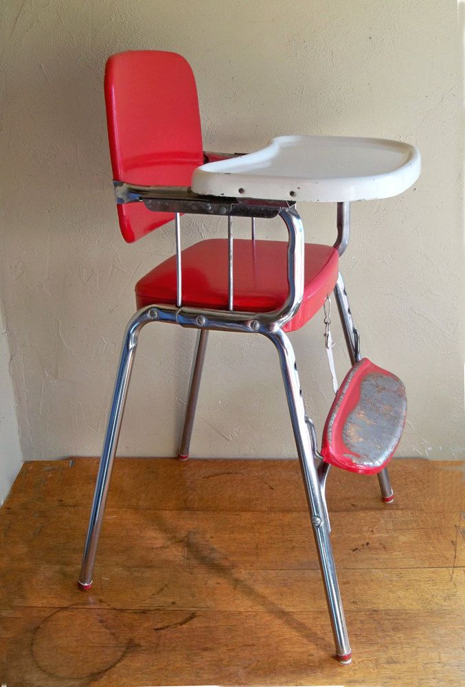 Mid-Century Cosco Baby High Chair - Red & Chrome Delight ...