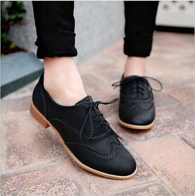 85e5f0e7dc92 Brogue Women Lace Up Wing Tip Oxford College Style Flat Fashion Shoes Big  Size
