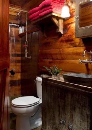 Western inspired design - bathroom . Galvanized steel, wood, wicker, natural elements by maime.pakpond