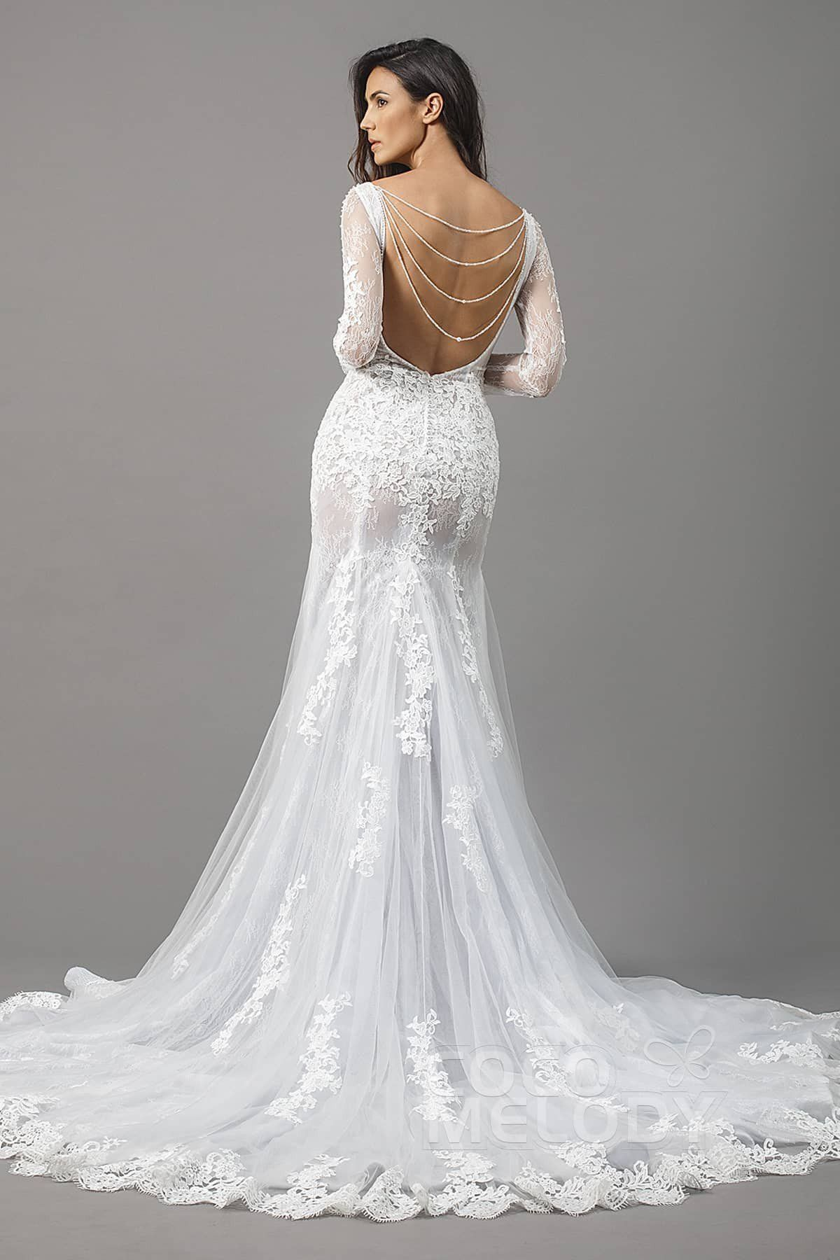 74192e63a3344 Impressive Trumpet-Mermaid Bateau Natural Chapel Train Tulle and Lace  Ivory Silver Cloud Long Sleeve Open Back Wedding Dress with Appliques and  Beading ...