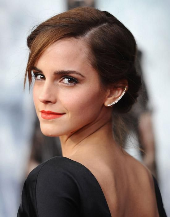 classic chignon x ear bling :: Emma Watson at the Noah New York premiere, March 2014