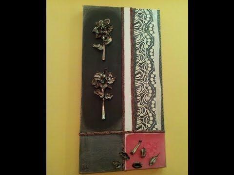 Cuadro moderno hecho con flores de cucharillas de - Manualidades cuadros modernos ...
