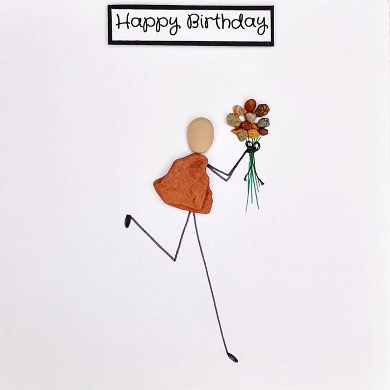Birthday Card Pebble Art Pebble Picture Personalised Card Stick Man Card Quirky Card Unusual Card Best Friend Card Funny Card Handmade Card In 2021 Pebble Art Friend Cards Funny Cards Handmade