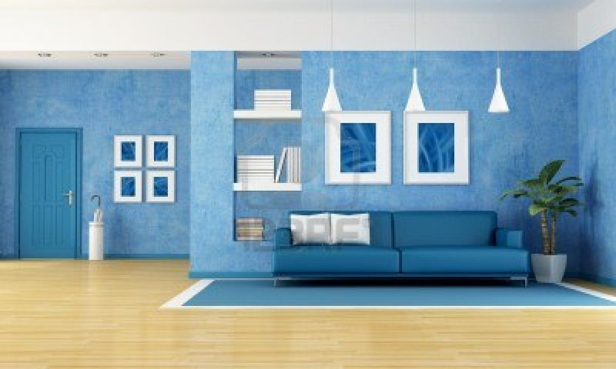 contemporary living room with blue sofa and door-rendering-the art ...