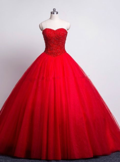 0fab87f15e8 Red Prom Quinceanera Dresses Sweetheart Beaded Corset Tulle Ball Gown