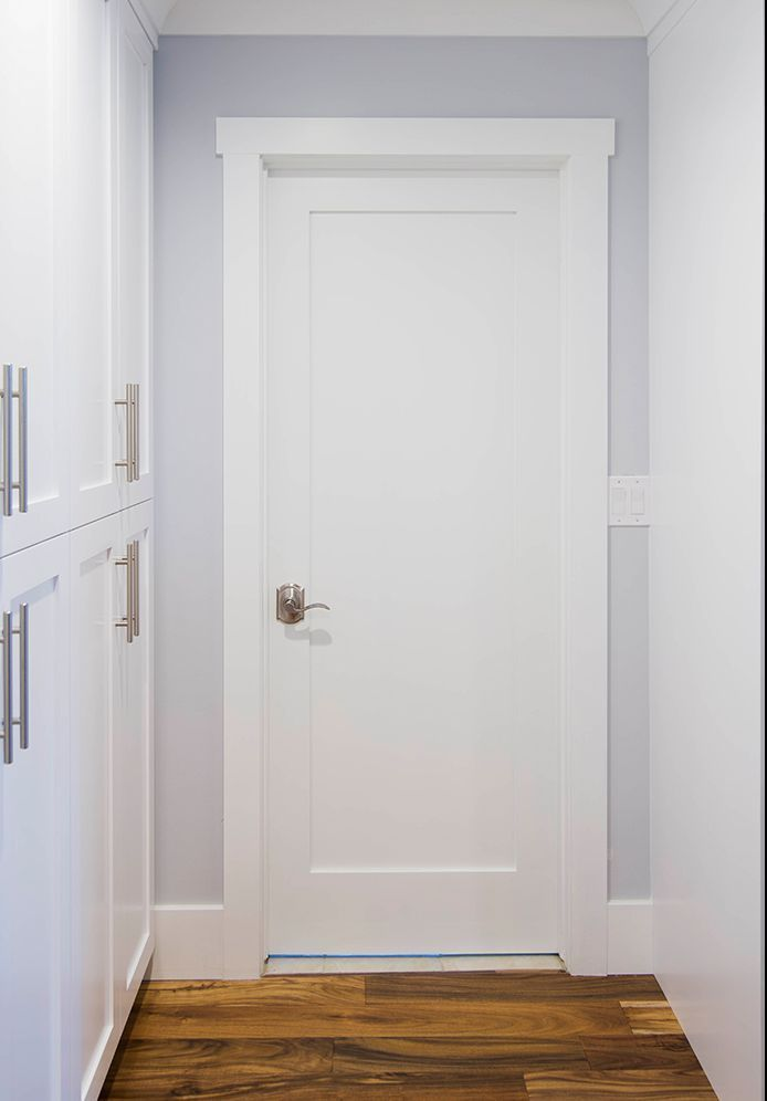 Exceptional 1 Panel Interior Primed White Solid Core Shaker Mission Style Doors #KSRDoor