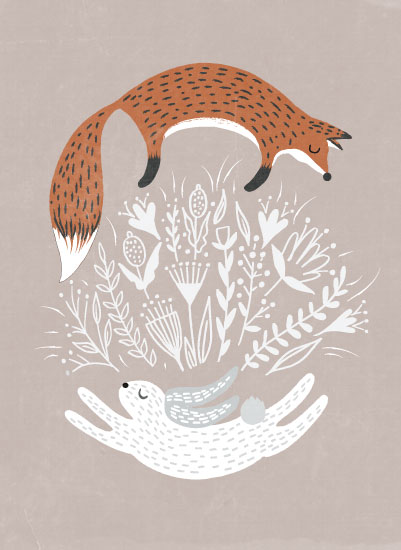 art prints - Fox and Hare