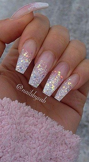 Coffin Glitter Nails In 2020 Glitter Tip Nails Ombre Acrylic Nails Glitter Nails Acrylic