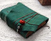 """Distressed Leather Journal, """"Emerald Dreams"""" - Hand Bound, Emerald Green, Antiqued Eco Pages"""