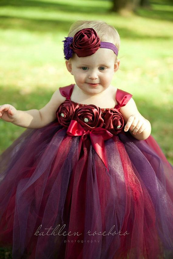 4fafad75c Arli's flower girl dress. Another skirt with blended colors. Burgundy and  Plum Tutu Dress by MyPreciousTutu on Etsy, $60.00