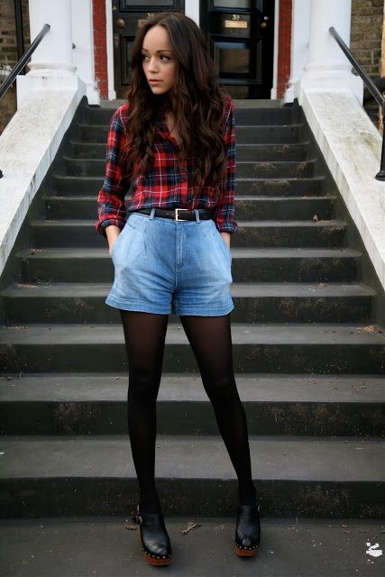 Flannel shirt and denim shorts- a classic combo~ ashley-ringmybell.blogspot.co.uk