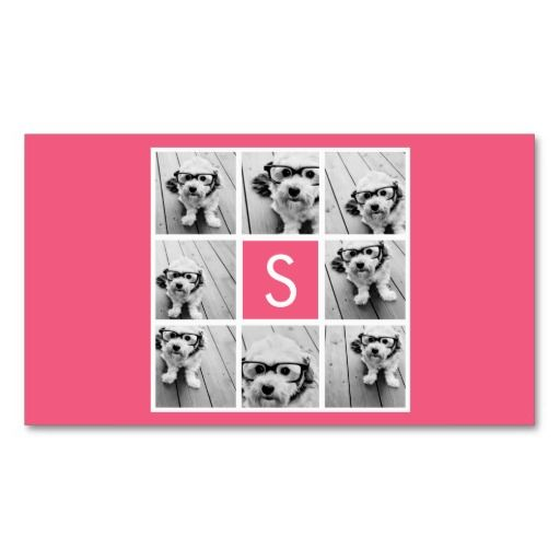 Girly hot pink instagram photo collage monogram business card by girly hot pink instagram photo collage monogram business card by marshenterprises colourmoves