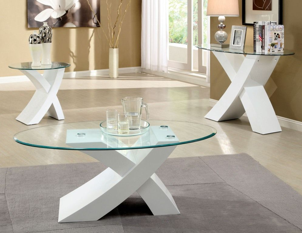 Round Glass White Coffee And End Table Sets Interior Decoration Wonderful  Handmade High Quality Cool Design