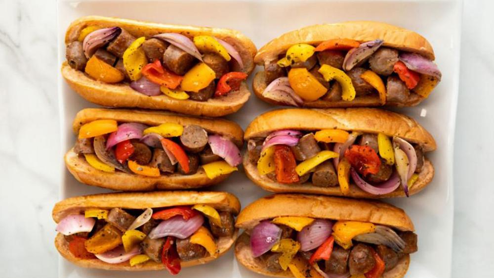 Sheet Pan Sausage And Pepper Hoagies Recipe In 2020 Sausage And Peppers Stuffed Peppers Food Network Recipes