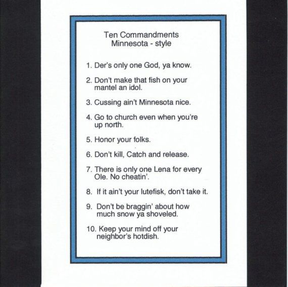 Saw This At The Uffda Shop Made Me Smile Minnesota 10 Commandments Think Happy Thoughts