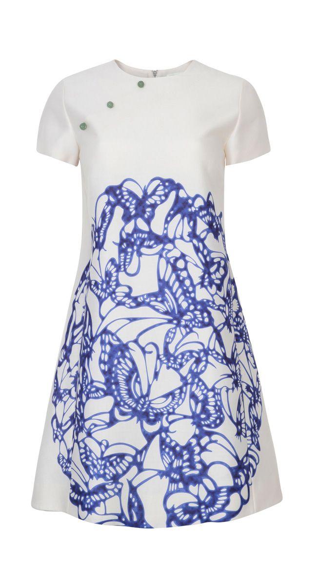 1a6b7a5b6b7f Butterfly Plate Print Short Sleeve Dress by Shanghai Tang