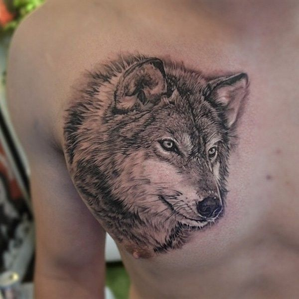 Incredible 3d Realistic Lifelike Naturally Colored Wolf Tattoo On Wolf Tattoos Men Wolf Tattoos Wolf Tattoo Design