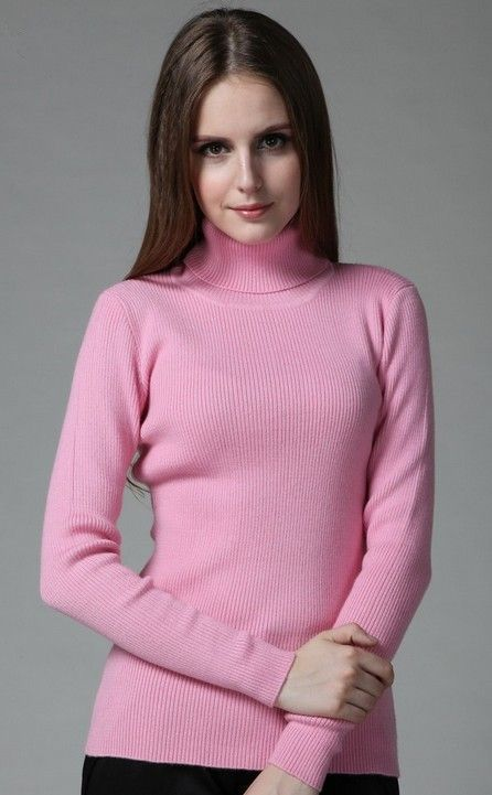 pastel pink turtle-neck sweaters, thin pink turtle-neck pullover ...