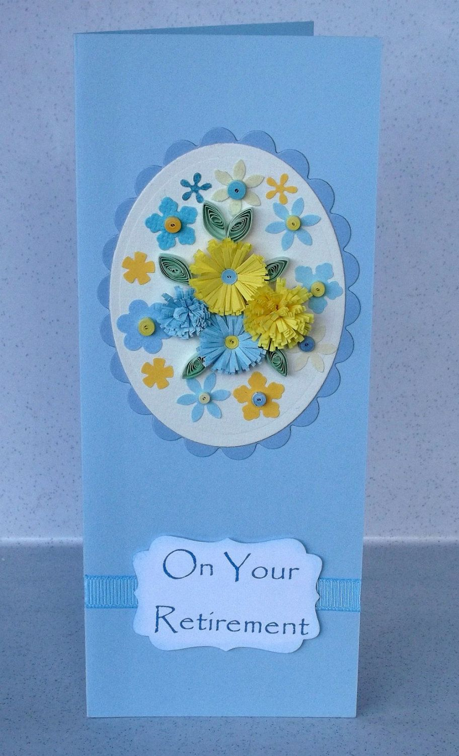 Retirement card with quilled flowers handmade greeting