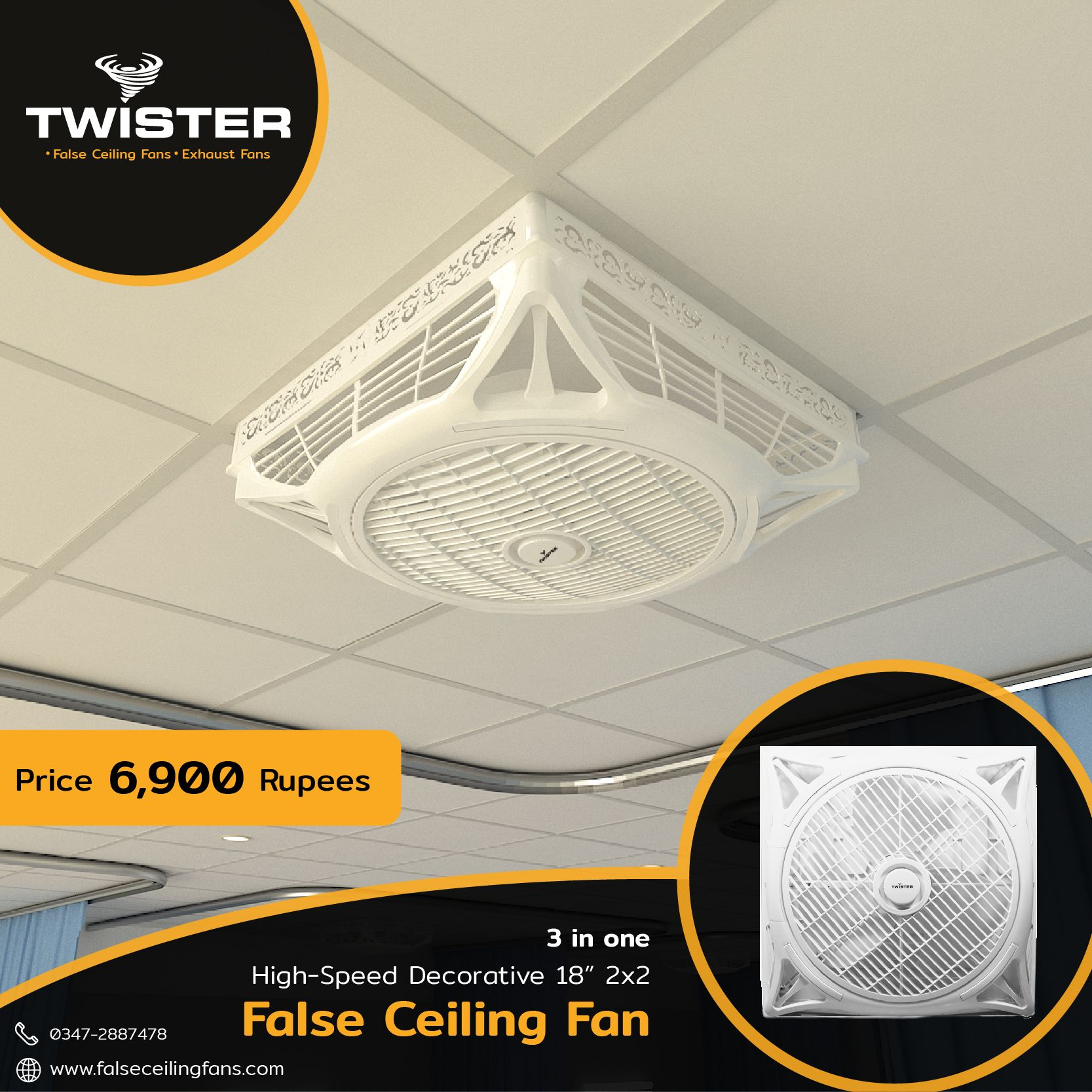 Twister False Ceiling Fan 18 Inch Price 6900 Free