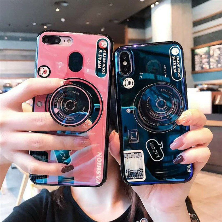 For huawei y6 y7 prime 2018 case blue ray camera stand