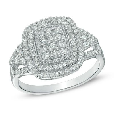 1/2 CT. T.W. Diamond Cluster Double Frame Ring in 10K White Gold ...