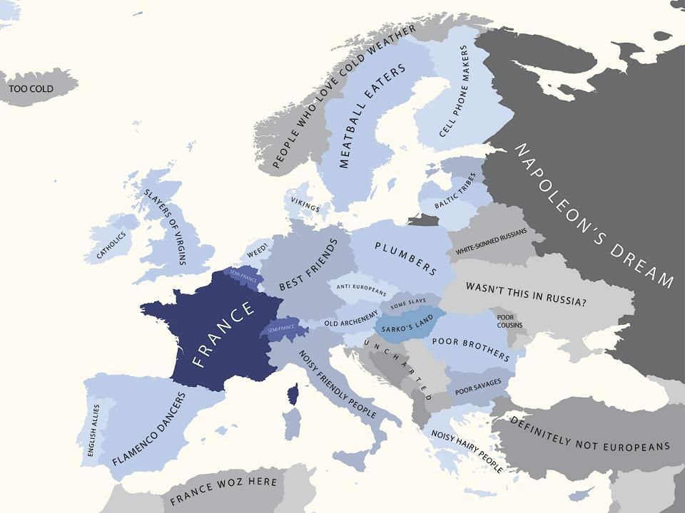 Netherlands Map Of Country%0A Europe Prejudices according to Countries   Europa according to France