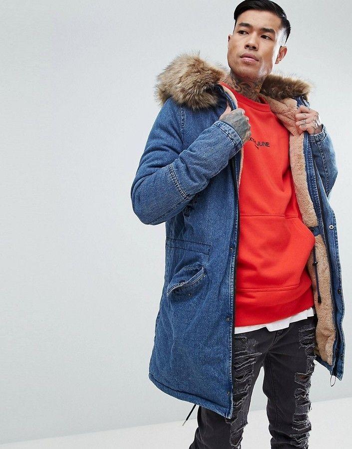 Brandneu b4b01 6fd51 Sixth June Denim Parka Jacket With Oversized Faux Fur Hood ...