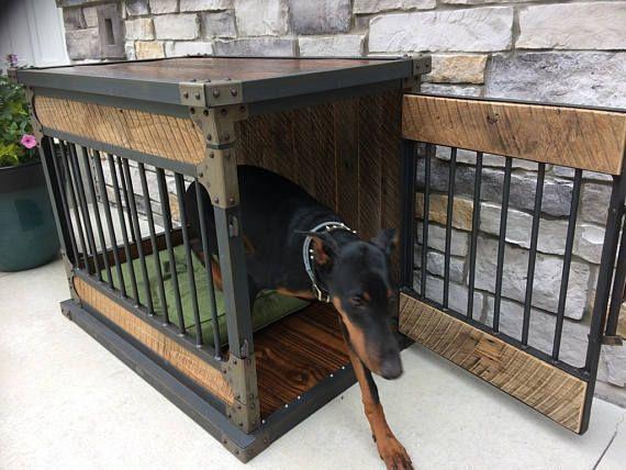 Rustic Industrial Dog Kennel Dog Crate Riveted Steel Dog Kennel