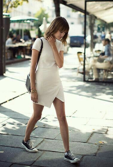 Converse | Fashion, Street style, Dress with sneakers