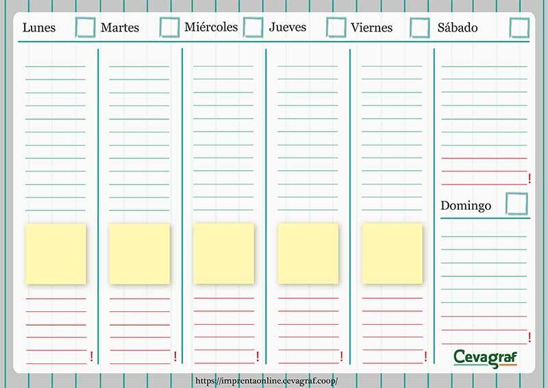 Planificadores semanales imprimibles cevagraf for Agendas de oficina