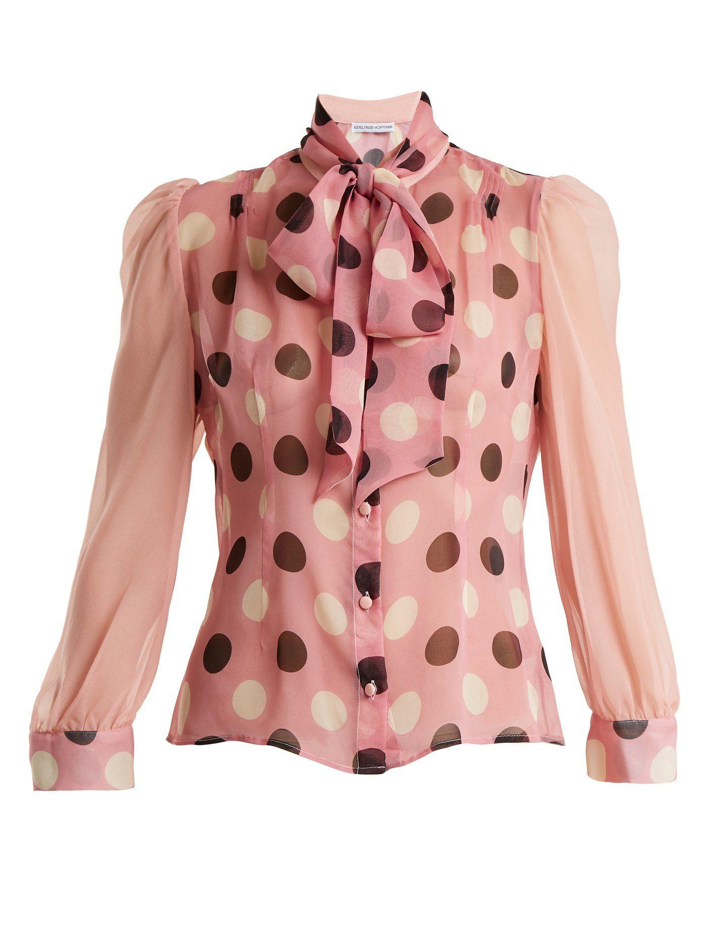 dc819dfe9da6c Click here to buy Edeltrud Hofmann Pussy-bow polka-dot silk blouse at  MATCHESFASHION