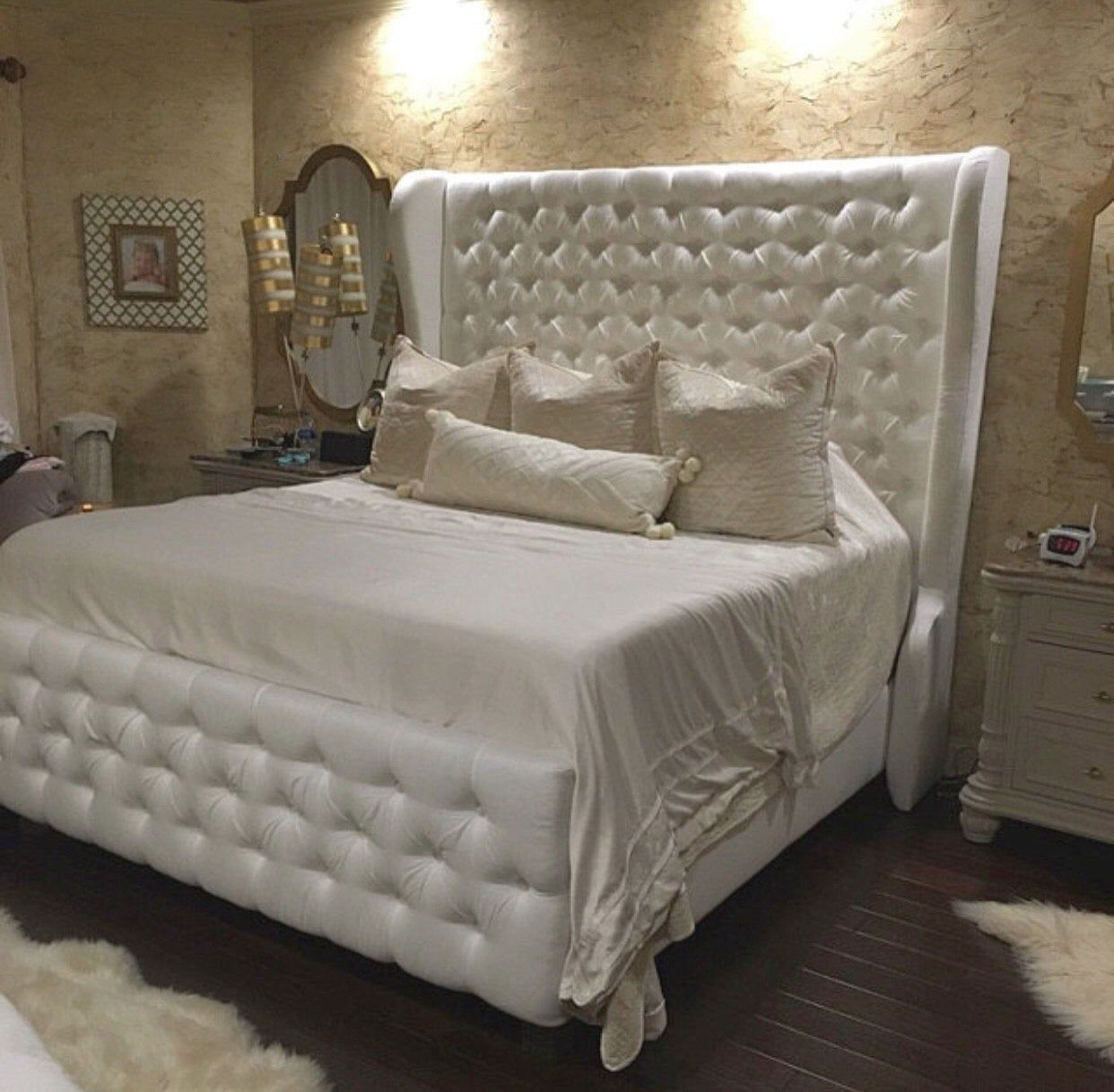 Diamond Tufted Wingback Headboard and Bed Frame with