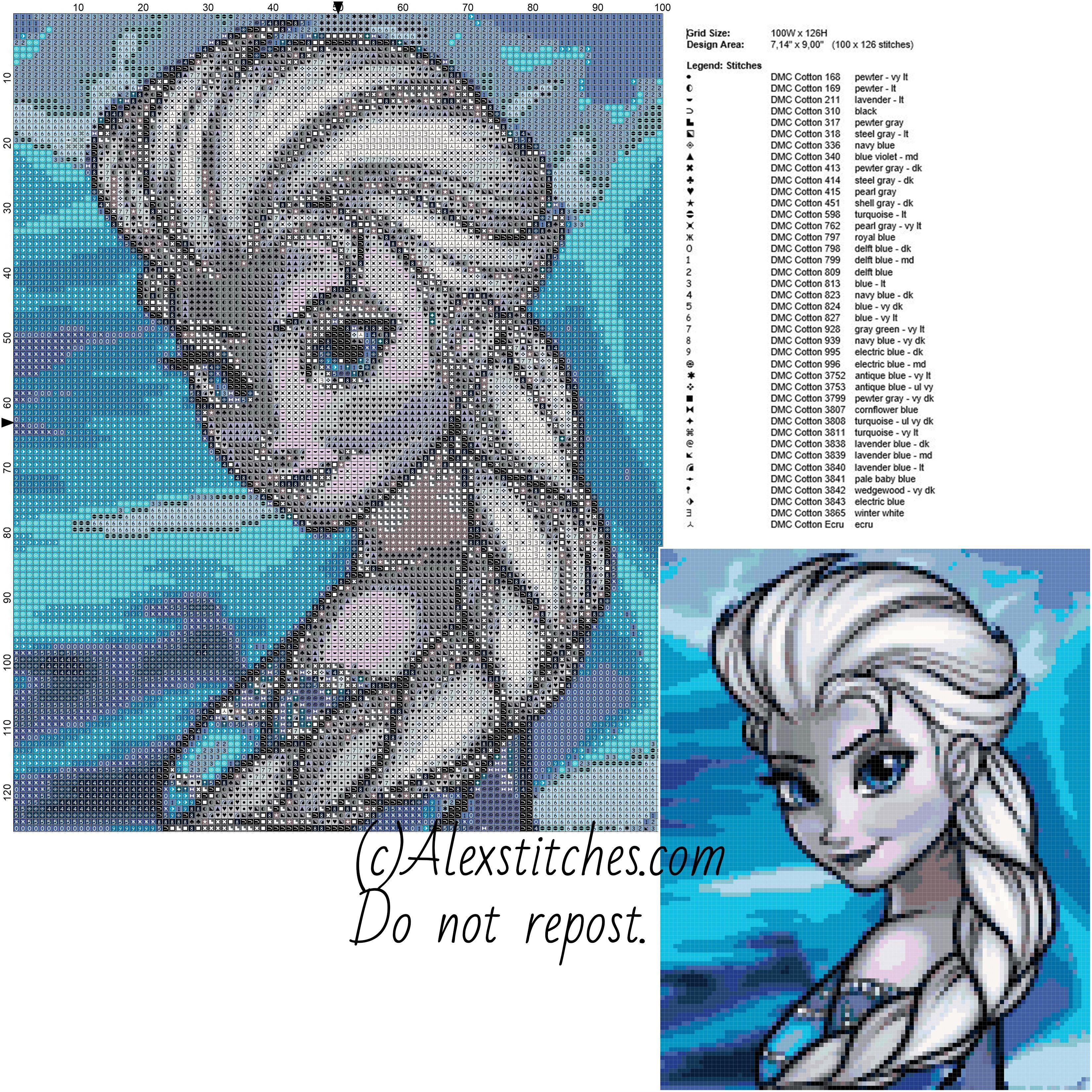 Elsas portrait disney frozen free cross stitch pattern 100x126 40