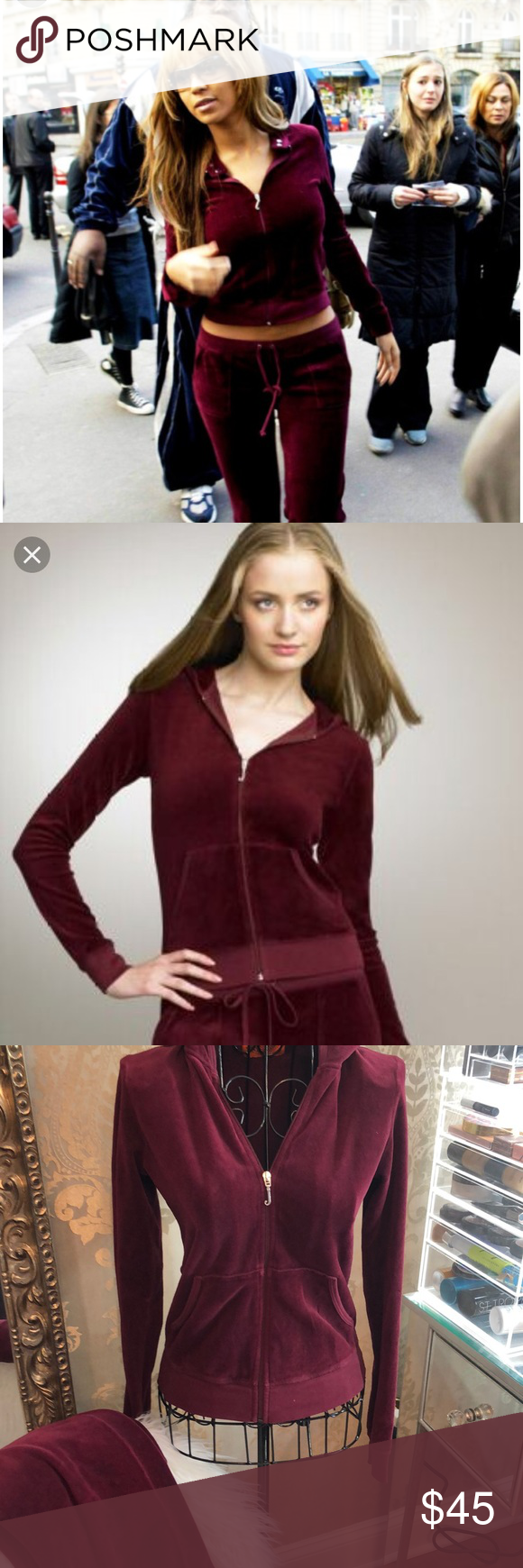 9fe85627dff7 Juicy Couture tracksuit Preloved Juicy Couture tracksuit in gorgeous  burgundy! Size small top and petite