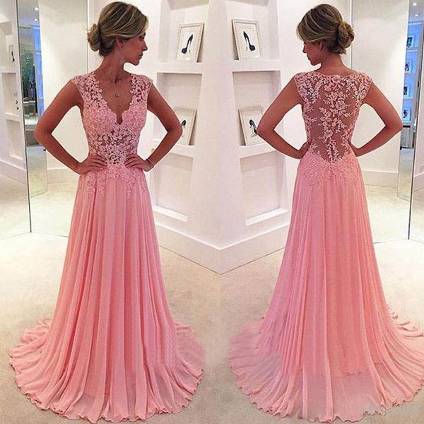 lace prom dress, Peach prom dress, See through prom dress, chiffon ...