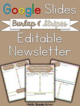 Google Slides Editable Newsletter Burlap Stripes Education - Newsletter templates google docs