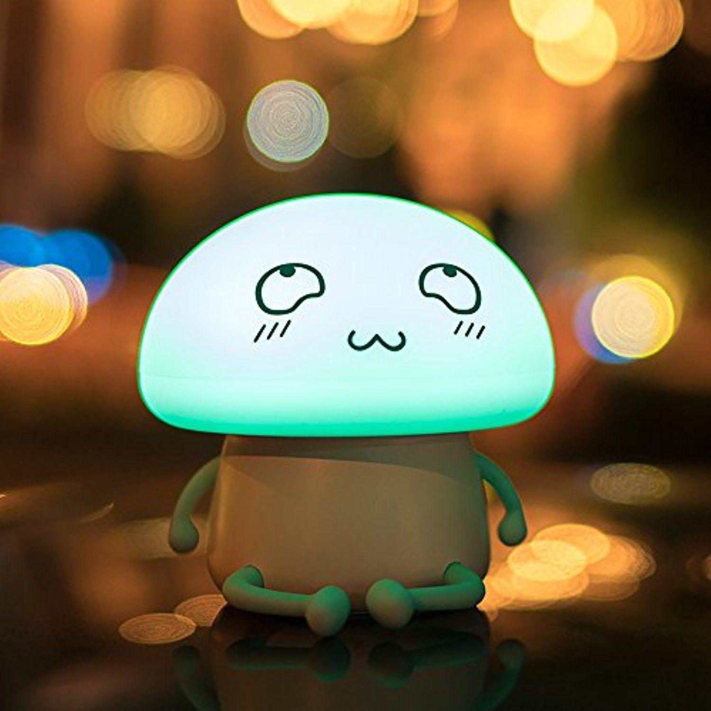 Luxlumi Silicone Emoji Mushroom Led Touch Nightlight Is Dimmable