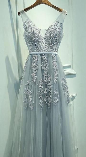 V-back Tulle Long Prom Dress with Applique and Pearl Custom Made Real Photo Wedding Party Dress YDP0011