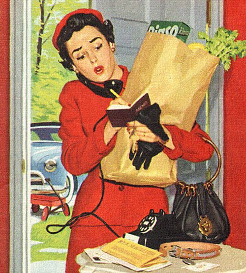 Mom's Busy Schedule ~ detail from 1953 Spry shortening ad. When I go out the door, I say let it ring, if it's important they'll call the cell phone.